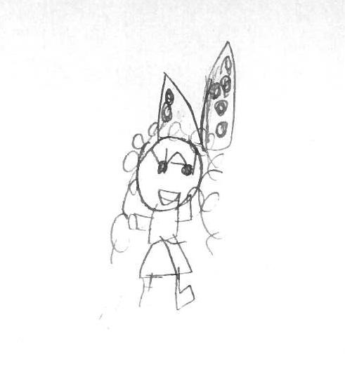 En barnteckning av en flicka med stor rosett i håret
